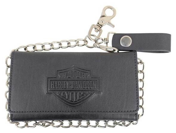 Harley-Davidson Men's B&S Biker Chain Tri-Fold Tall Leather Wallet - Black - Wisconsin Harley-Davidson