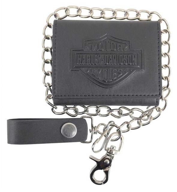 Harley-Davidson Men's B&S Biker Chain Tri-Fold Short Leather Wallet - Black - Wisconsin Harley-Davidson