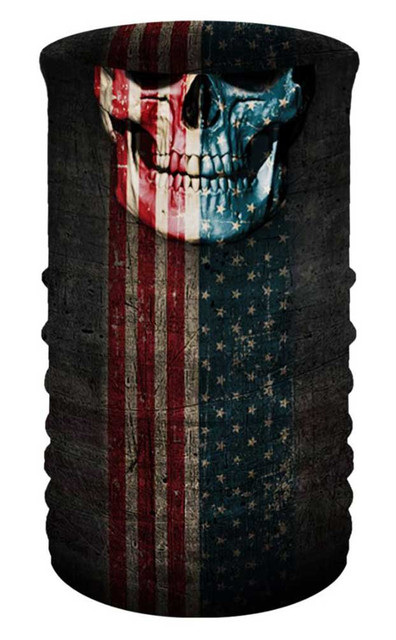 That's A Wrap Unisex Patriotic Skull Multi-Function Reversible Tube Face Cover - Wisconsin Harley-Davidson