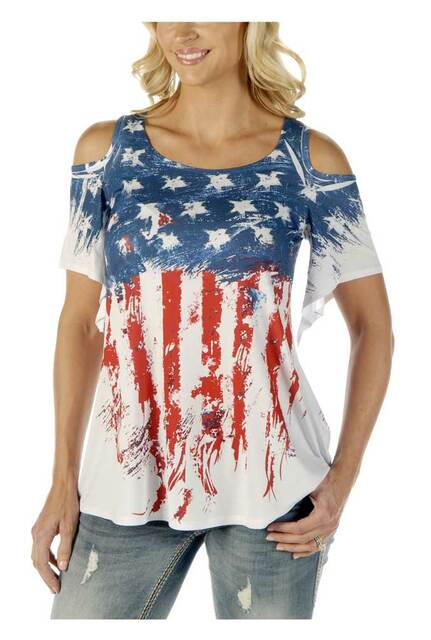 Liberty Wear Women's Old Glory Cold Shoulder Exaggerate Bell Short Sleeve Top - Wisconsin Harley-Davidson