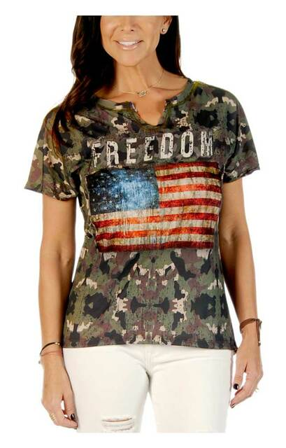 Liberty Wear Women's Freedom Flag Camo Print Short Sleeve Notched Neck Tee - Wisconsin Harley-Davidson
