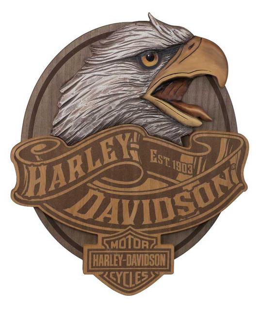 Harley-Davidson Hand Carved Wood Eagle Bar & Shield Logo Pub Sign HDL-15322 - Wisconsin Harley-Davidson