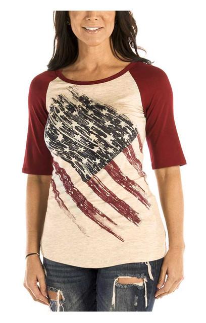 Liberty Wear Women's Patriotic Pride 3/4 Raglan Sleeve Baseball Tee, Oat & Red - Wisconsin Harley-Davidson