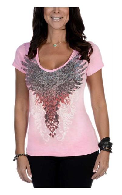 Liberty Wear Women's Lil She Devil Embellished Short Sleeve V-Neck Tee, Pink - Wisconsin Harley-Davidson