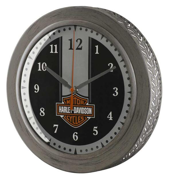 Harley-Davidson Custom Metal Tire Tread Bar & Shield Clock - 12 inch HDX-99176 - Wisconsin Harley-Davidson