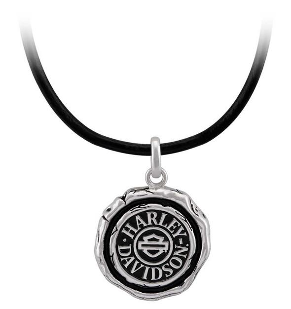 Harley-Davidson Men's Bar & Shield Wax Seal Necklace - Sterling Silver HDN0472 - Wisconsin Harley-Davidson