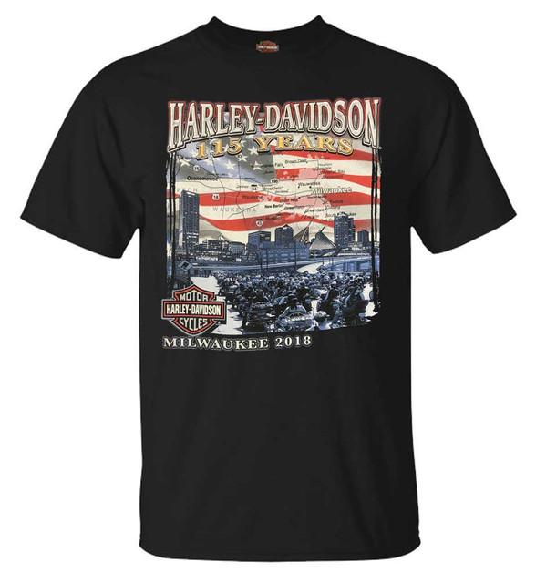 Harley-Davidson Men's 115 Years Milwaukee Map Short Sleeve T-Shirt - Black - Wisconsin Harley-Davidson
