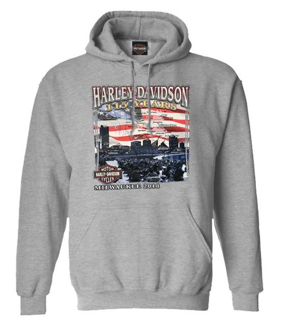 Harley-Davidson Men's 115 Years Milwaukee Map Pullover Hoodie - Heather Gray - Wisconsin Harley-Davidson