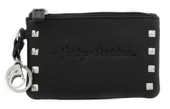 Harley-Davidson Women's Misrule Studded Card Key Coin Leather Wallet - Black - Wisconsin Harley-Davidson