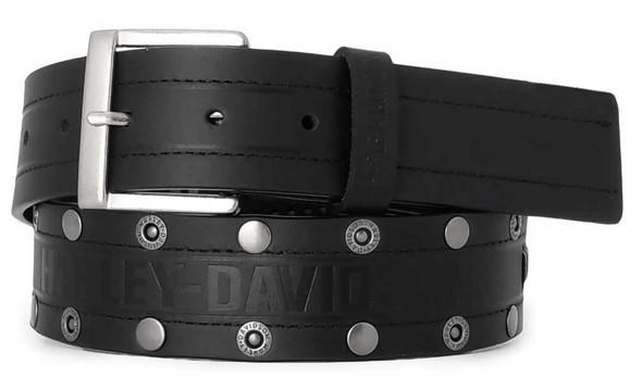 Harley-Davidson Men's Disturbance Studded Leather Belt w/ Antique Nickel Finish - Wisconsin Harley-Davidson