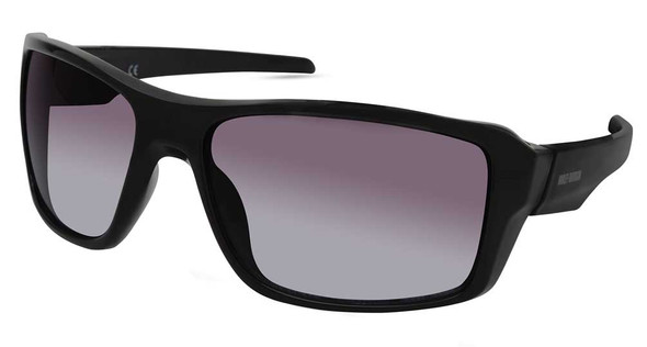 Harley-Davidson Men's Plastic Rectangle Sunglasses, Black Frame/Gradient Lenses - Wisconsin Harley-Davidson