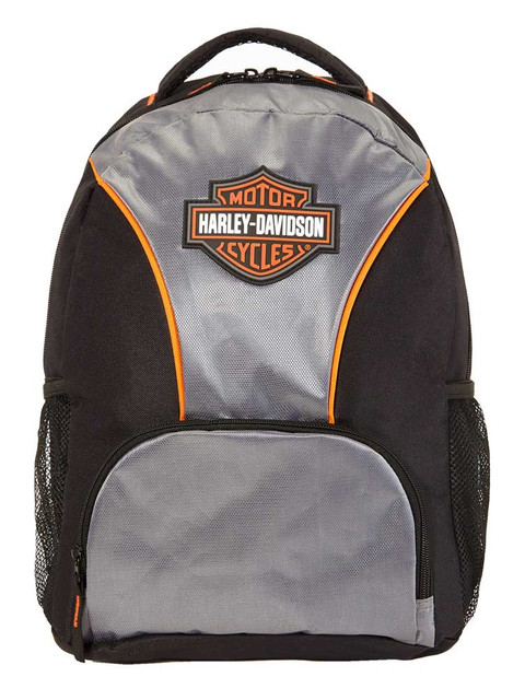 Harley-Davidson Bar & Shield Logo Backpack w/ Padded Back Straps- Silver/Black - Wisconsin Harley-Davidson