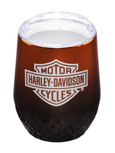 Harley-Davidson Electroplate B&S Insulated Stemless Tumbler Cup w/ Lid - 12 oz. - Wisconsin Harley-Davidson