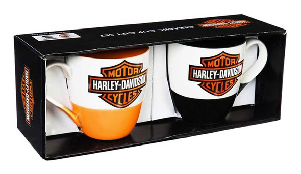 Harley-Davidson B&S Ceramic O'Java Cup Gift Set, 16 oz. - Black/Orange 3MCF4900B - Wisconsin Harley-Davidson