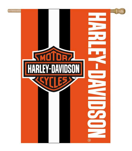 Harley-Davidson Bar & Shield Logo Applique Flag, 28 x 44 inch - Orange 15SF4900 - Wisconsin Harley-Davidson