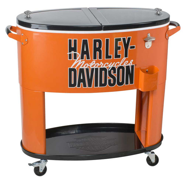 Harley-Davidson Motorcycle Powder Coated Metal Rolling Cooler - 80 qt HDL-10073 - Wisconsin Harley-Davidson
