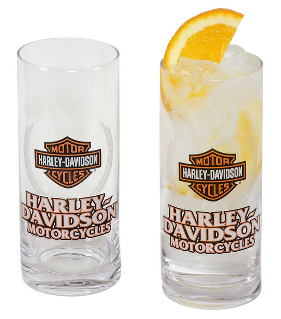Harley-Davidson Motorcycles Bar & Shield Highball Glass Set - 16 oz. HDL-18804 - Wisconsin Harley-Davidson