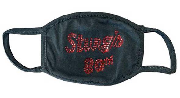 Liberty Wear Women's Sturgis 80th Rally Red Rhinestone Script Face Mask -Black - Wisconsin Harley-Davidson