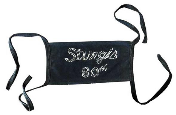 Liberty Wear Women's Sturgis 80th Rally Silver Rhinestone Face Mask - Black - Wisconsin Harley-Davidson