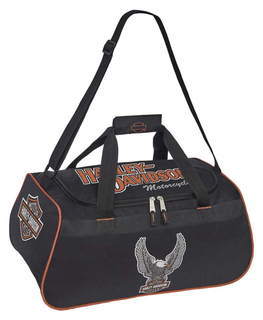 Harley-Davidson Winged Eagle B&S Sports Duffel Bag w/ Adjustable Strap - Black - Wisconsin Harley-Davidson