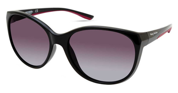 Harley-Davidson Womens Round Beveled Sunglasses, Black Frame/Gradient Smoke Lens - Wisconsin Harley-Davidson