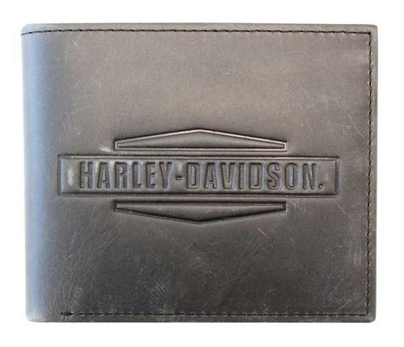 Harley-Davidson Men's Crazy Horse Leather Billfold Wallet MCH8450-GRYBLK - Wisconsin Harley-Davidson