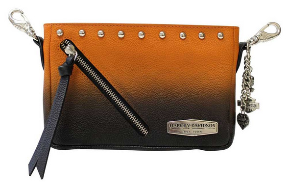 Harley-Davidson Women's Ombre Effect Leather Hip Bag w/ Strap - Orange & Black - Wisconsin Harley-Davidson