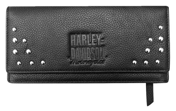 Harley-Davidson Women's Studded Separates Leather Bi-Fold Clutch Wallet - Black - Wisconsin Harley-Davidson