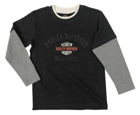 Harley-Davidson Little Boys' B&S Knit Two-Tone Long Sleeve Youth T-Shirt - Gray - Wisconsin Harley-Davidson