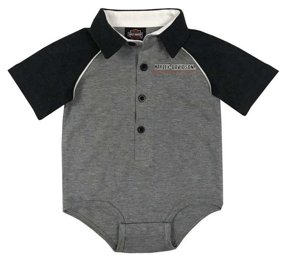Harley-Davidson Baby Boys' Knit Shop Short Sleeve Infant Shirt Creeper - Gray - Wisconsin Harley-Davidson