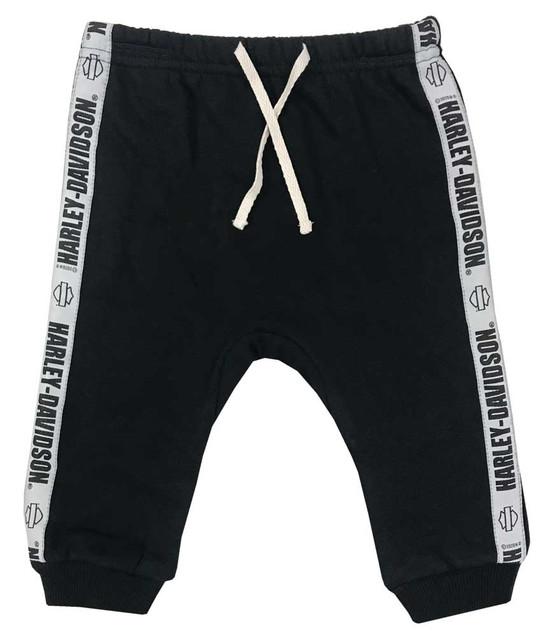 Harley-Davidson Baby Gender Neutral Newborn Fleece Pants w/ Side Stripe - Black - Wisconsin Harley-Davidson