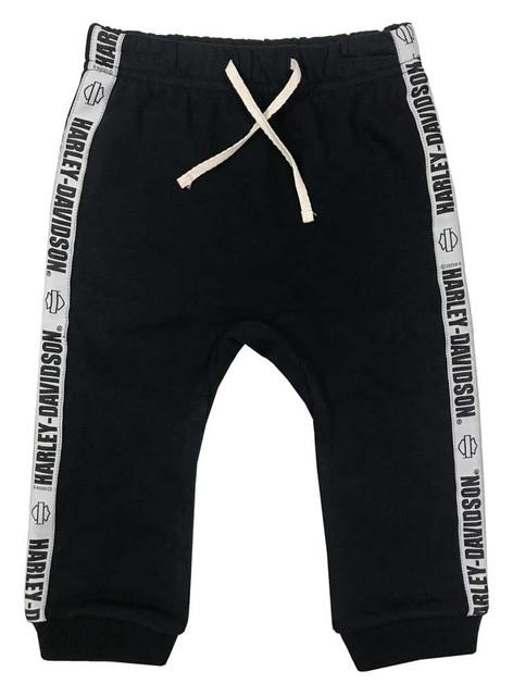 Harley-Davidson Baby Gender Neutral Infant Fleece Pants w/ Side Stripe - Black - Wisconsin Harley-Davidson