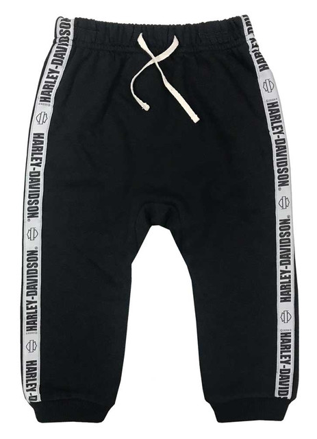 Harley-Davidson Kids Gender Neutral Toddler Fleece Pants w/ Side Stripe - Black - Wisconsin Harley-Davidson
