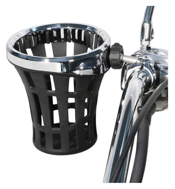 Ciro Big Ass Drink Holder w/ 1 - 1/4 in. Aluminum Clamp Mount, Chrome or Black - Wisconsin Harley-Davidson