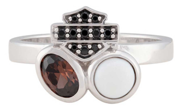 Harley-Davidson Women's Two Stone Cluster B&S Ring, Sterling Silver HDR0553 - Wisconsin Harley-Davidson
