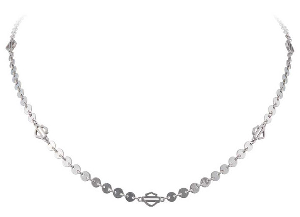 Harley-Davidson Womens Small Disc B&S Chain Necklace, Sterling Silver HDN0474-16 - Wisconsin Harley-Davidson
