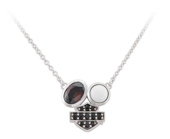 Harley-Davidson Women's Two Stone Cluster B&S Pendent Necklace, Sterling Silver - Wisconsin Harley-Davidson