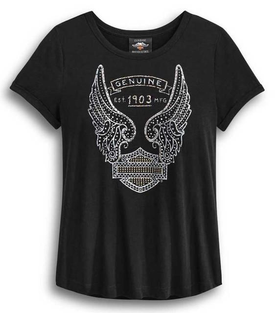 Harley-Davidson Women's Embellished Metallic Printed Short Sleeve Tee 96409-20VW - Wisconsin Harley-Davidson
