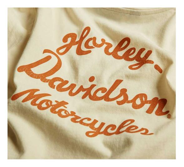 Harley-Davidson Women's Distressed Vintage Script V-Neck Tee 96436-20VW - Wisconsin Harley-Davidson