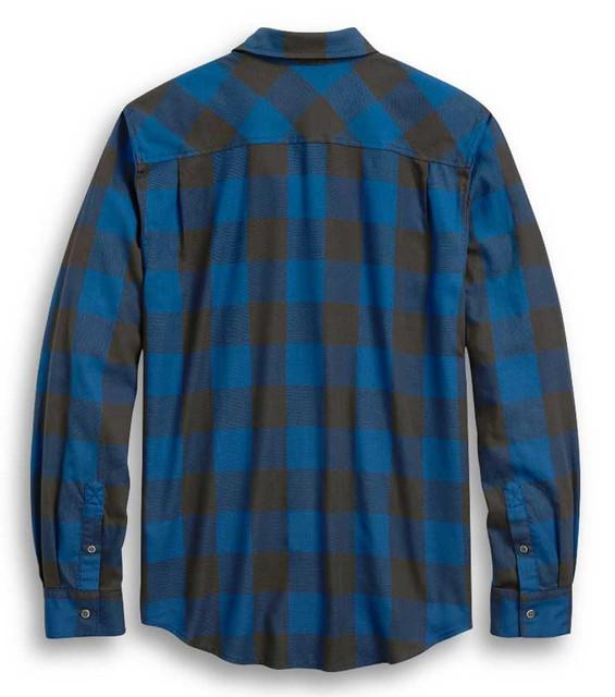 Harley-Davidson Men's Slim Fit #1 Skull Buffalo Plaid Shirt, Blue 96328-20VH - Wisconsin Harley-Davidson