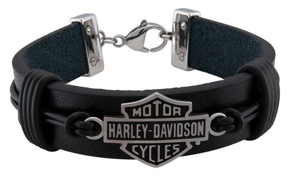 Harley-Davidson Men's Nut & Coil B&S Leather Bracelet - Stainless Steel, Black - Wisconsin Harley-Davidson