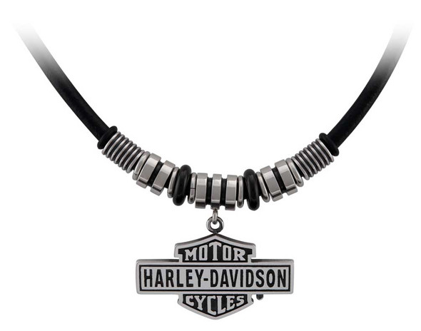 Harley-Davidson Men's Vintage B&S Hardware & Leather Necklace - Stainless Steel - Wisconsin Harley-Davidson