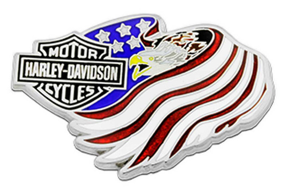 Harley-Davidson 1.5 in. Bar & Shield Eagle Flag Metal Pin, Antique Silver Finish - Wisconsin Harley-Davidson