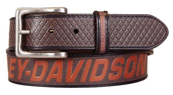 Harley-Davidson Men's Free Rein American Flag Brown Leather Belt- Antique Nickel - Wisconsin Harley-Davidson