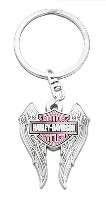 Harley-Davidson Pink Bar & Shield Winged Key Chain, 1.5 inch - Silver Finish - Wisconsin Harley-Davidson