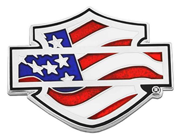 Harley-Davidson 1.25in. American Flag Bar & Shield Logo Metal Pin, Silver Finish - Wisconsin Harley-Davidson