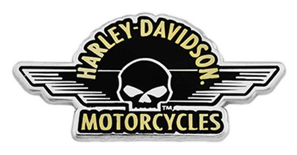 Harley-Davidson 1.75 in. Winged Willie G Skull Metal Pin, Silver Nickel Finish - Wisconsin Harley-Davidson