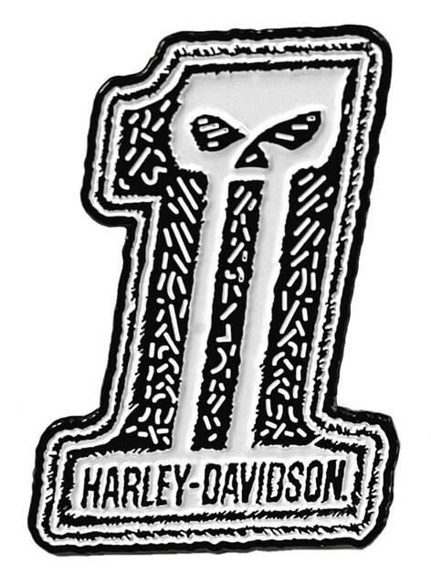 Harley-Davidson 1.25 in. Distressed Dark Custom #1 Skull Metal Pin, White Finish - Wisconsin Harley-Davidson