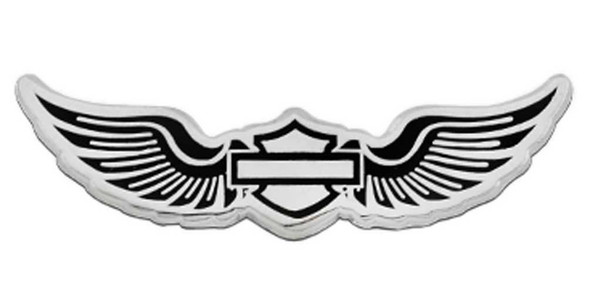 Harley-Davidson 1.75 in. Winged Bar & Shield Metal Pin, Silver Nickel Finish - Wisconsin Harley-Davidson