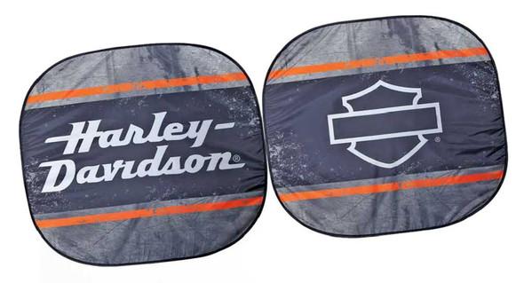 Harley-Davidson Bar & Shield Logo Spring Style Auto Sunshade - Black P3765 - Wisconsin Harley-Davidson